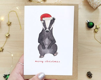 Badger Christmas - Cute Christmas Card, British Animals, Animal Lover, Woodland, Cottagecore Christmas