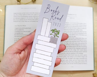 10 Book Reading Tracker Bookmark - Bookish Goals, Reader Progress Tracking, Recycled Paper Bookmark - Book Lover Bibliophile Gift