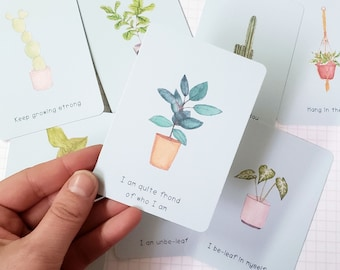 Planty Affirmation Cards - Set 8 Positive Plant Pun Small Cards - perfect pick me up or plant lover gift