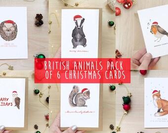 Pack of 6 British Animals Christmas Cards - UK, Woodland, Cottagecore Christmas, Squirrel, Fox, Owl, Badger, Robin, Hedgehog