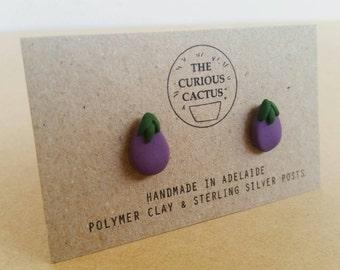 Eggplant Aubergine Studs - Handmade Purple Vegetable Polymer Clay Sterling Silver Earrings