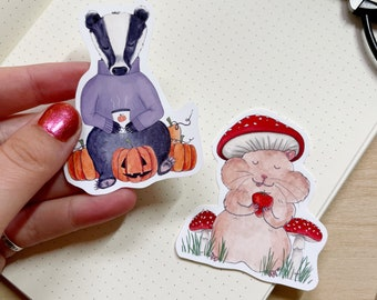 Cute Animal Costumes Vinyl Stickers - Pumpkin Spice Latte (PSL) Badger and Toadstool Hamster - Watercolour Handcut Water Resistant Stickers