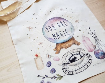 Tote - You Are Magic - Witchy Vibes Cotton Bag - Magical Gift - Eco Friendly Canvas Bag - Divination Crystal Artwork Witchcraft