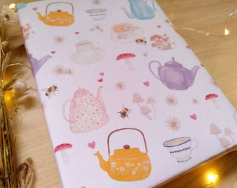 Cottagecore Wrapping Paper - Tea and Toadstools Spring Art A3 gift wrap - 100% recycled paper