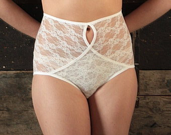 FREYA High Waisted Lace Knickers / Panties.  Ivory.