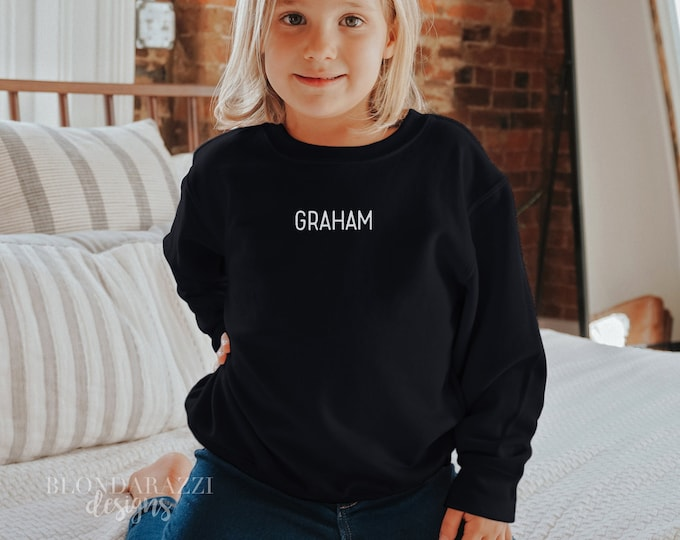 Personalized Kids Toddler Sweatshirt with Name Embroidered - Unisex for boy or girl