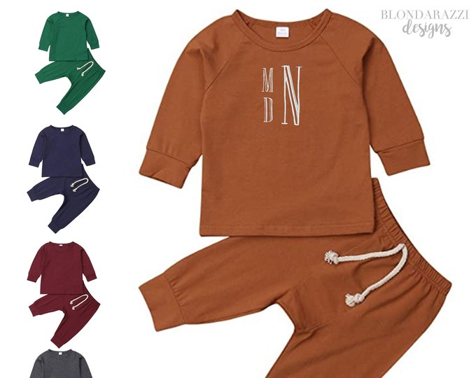 Baby Boy Girl Clothes Outfit Monogrammed Sweatsuit Tracksuit Pants and Long Sleeve Shirt - unisex gender neutral