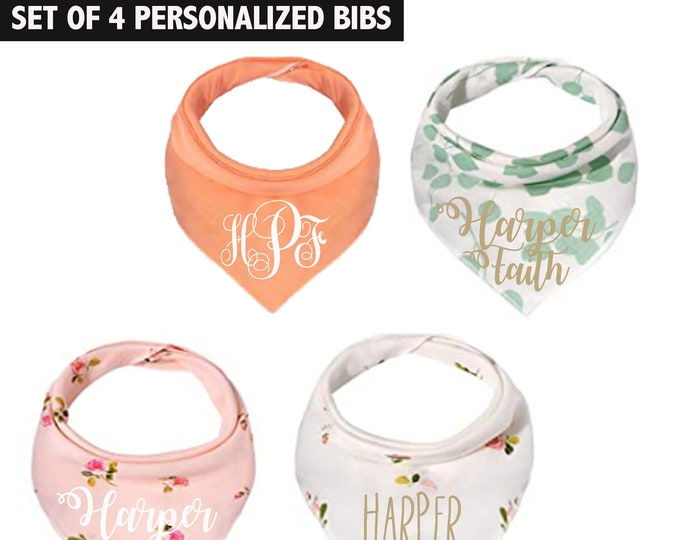 Set Of Four Baby Girl Bandana Bibs in Floral Print and Pastel Colors with personalized name and monogram