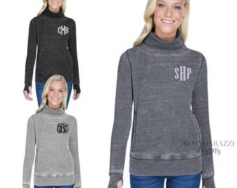 teen womens sweatshirt girl friend pouch pocket daughter Monogrammed cowl neck sweatshirt personalized Christmas gift for women mom