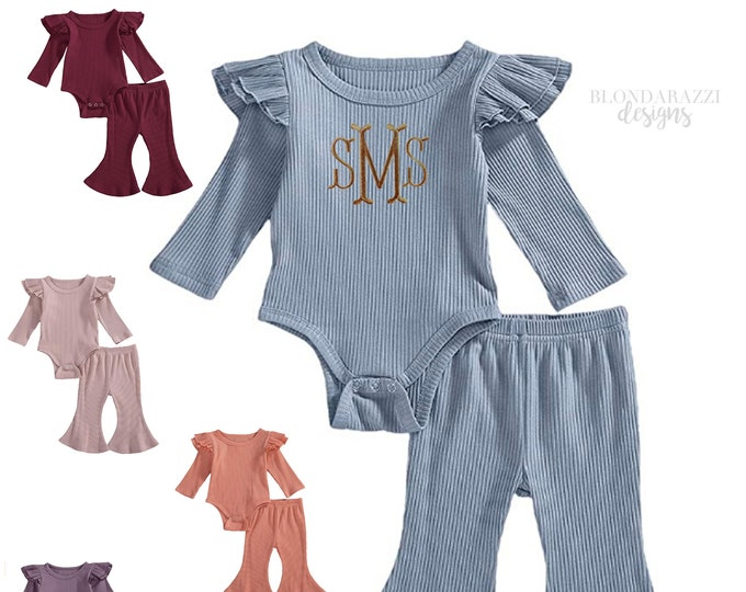 Baby girl outfit with embroidered monogram or name - romper bodysuit with ruffles and matching ribbed bell bottoms