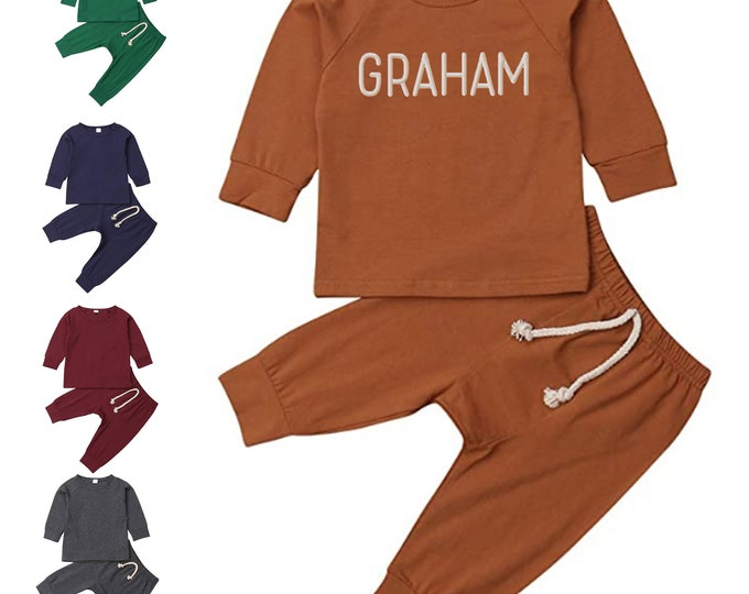 Embroidered Baby Gender Neutral Outfit for Infant Boy or Girl with personalized name two piece casual sweatsuit outfit with long sleeve top