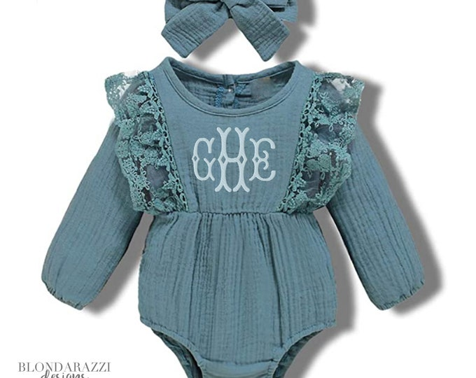 Baby Girl Linen Long Sleeve Romper with Matching Bow Headband and Monogrammed personalization