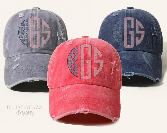 American Flag Monogram High Pony tail Baseball Cap - distressed 4th of July hat monogrammed with custom initials in stars in stripes pattern