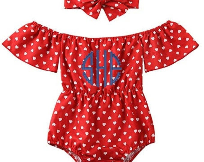 Patriotic Baby Girl Outfit for Memorial Day Fourth of july - Embroidered Monogram Red Romper with Hearts and matching headband