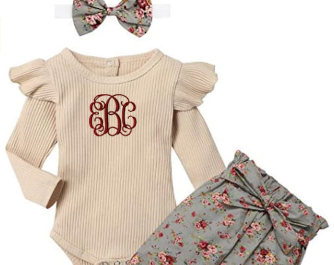 Baby Girls Outfit with Tan Ribbed Bodysuit Boho Floral Pants and matching headband with personalized monogram