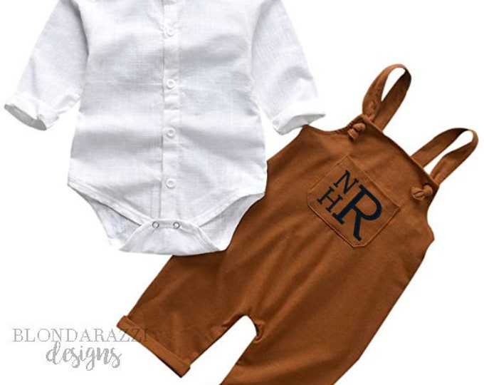 Baby Boy Outfit with Carmel Brown Coveralls White Button Down Bodysuit and Personalized Monogram or Name