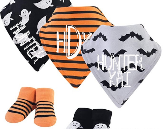 Personalized set of halloween baby bandana bibs with personalized name and monogram with matching socks