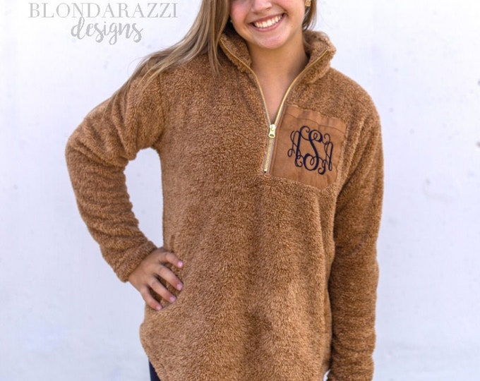 Monogrammed Sherpa Pullover with Suede Color Block Accent