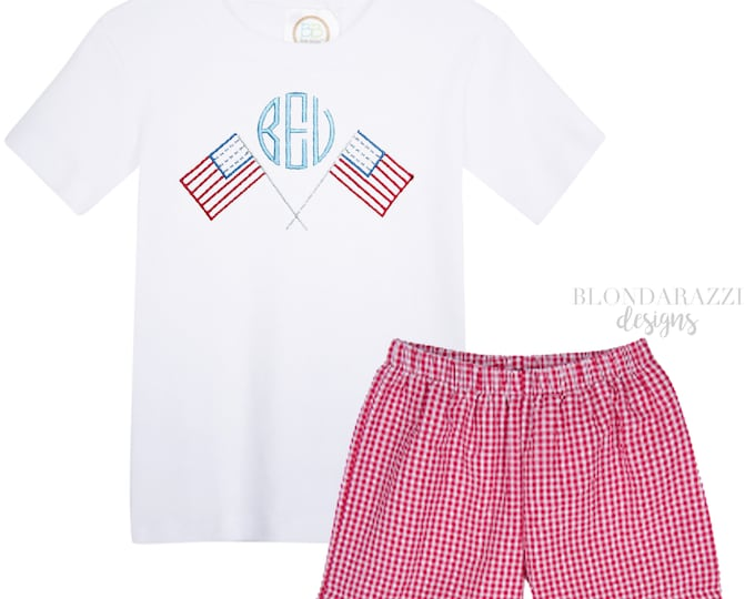 Boys 4th of July Shirt and Shorts set with embroidered personalized monogram and american flag design
