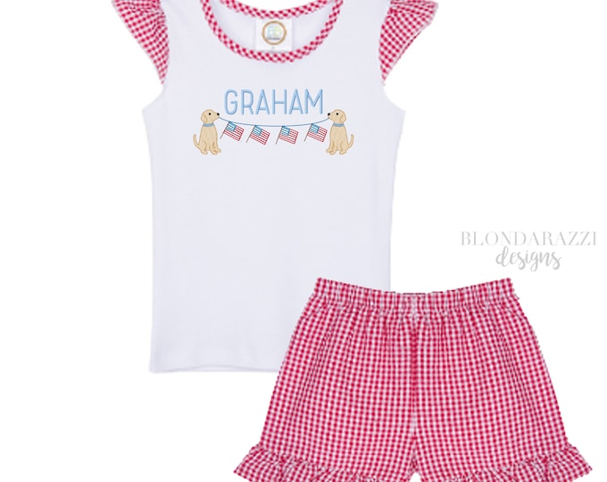Girls Fourth of July Outfit Shirt and Shorts set with ruffles for baby infant toddler youth with personalized embroidered name dog flag