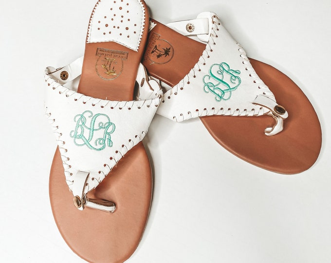 Monogram flip flop sandals with monogrammed with custom initial embroidery
