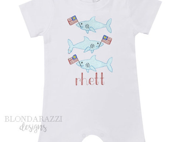 4th of July Baby Boys Romper One Piece Outfit with sharks american flag and personalized embroidered name