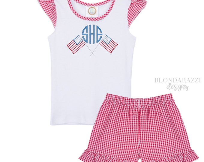 Girls 4th of july shirt and shorts outfit with personalized monogram american flags ruffles and red gingham details