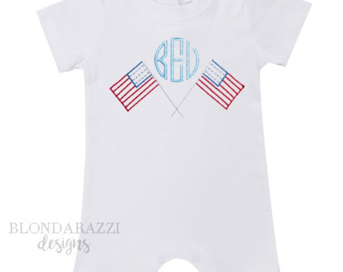 Fourth of July Baby Boy Romper One Piece Outfit with personalized embroidered monogram and american flag design