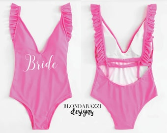 7d886ea6ad5 Bride Swimsuit Hot Pink and White Ruffle Backless One Piece Monokini