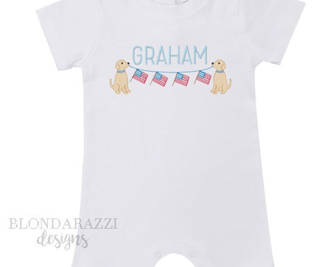 Fourth of July Romper One Piece Outfit with personalized embroidered name and cute dogs holding american flag banner