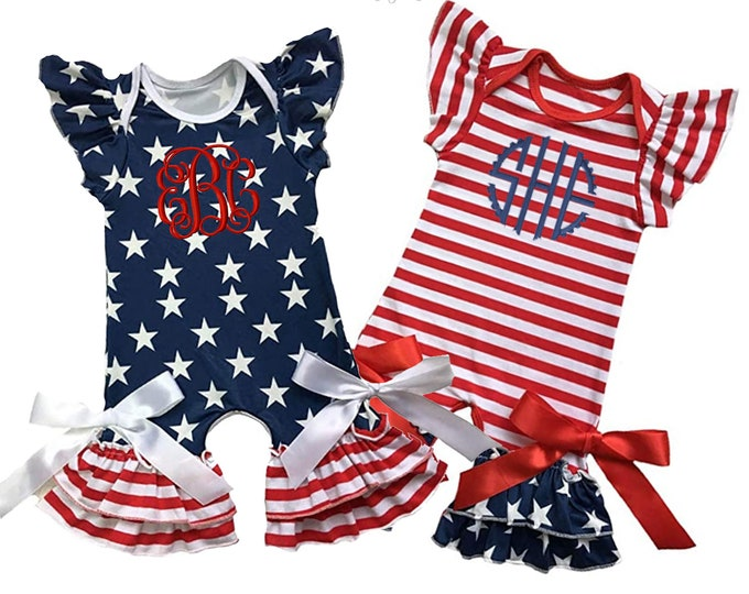 Monogrammed 4th of July Outfit for Baby Girls Stars and Stripes Romper with Ruffles and bows and personalized embroidered initials