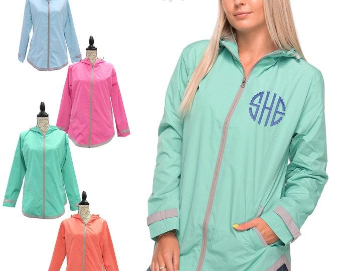Monogrammed Rain Jacket Tunic Style UltraLite Full Zip Embroidered monogram waterproof with hood velcro wrist side pockets workout