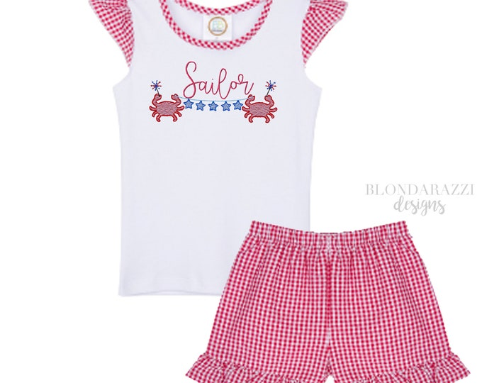 Girls 4th of July Shirt and Shorts Outfit with ruffles personalized embroidered name red white blue american design with crabs and stars