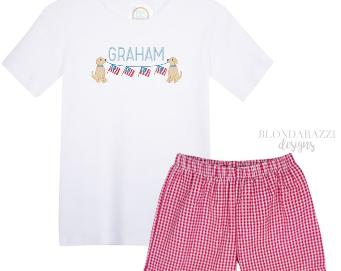 Boys 4th of July Shirt and Shorts Outfit - Red Gingham Shorts Personalized Embroidered name Cute dog design with american flag banner