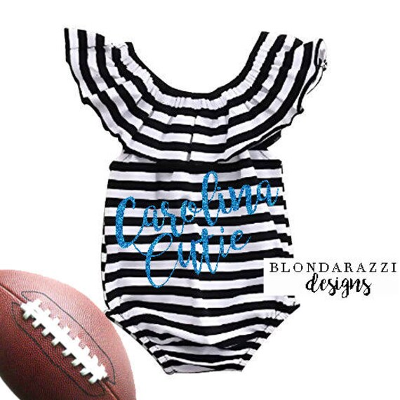 99a81c087 Baby Girl Football Romper Outfit Carolina Cutie Panthers