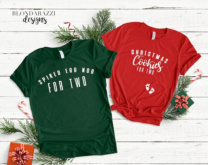 Christmas Pregnancy Announcement Shirts - Spiked Egg Nog and Christmas Cookies for two mom and dad matching shirts