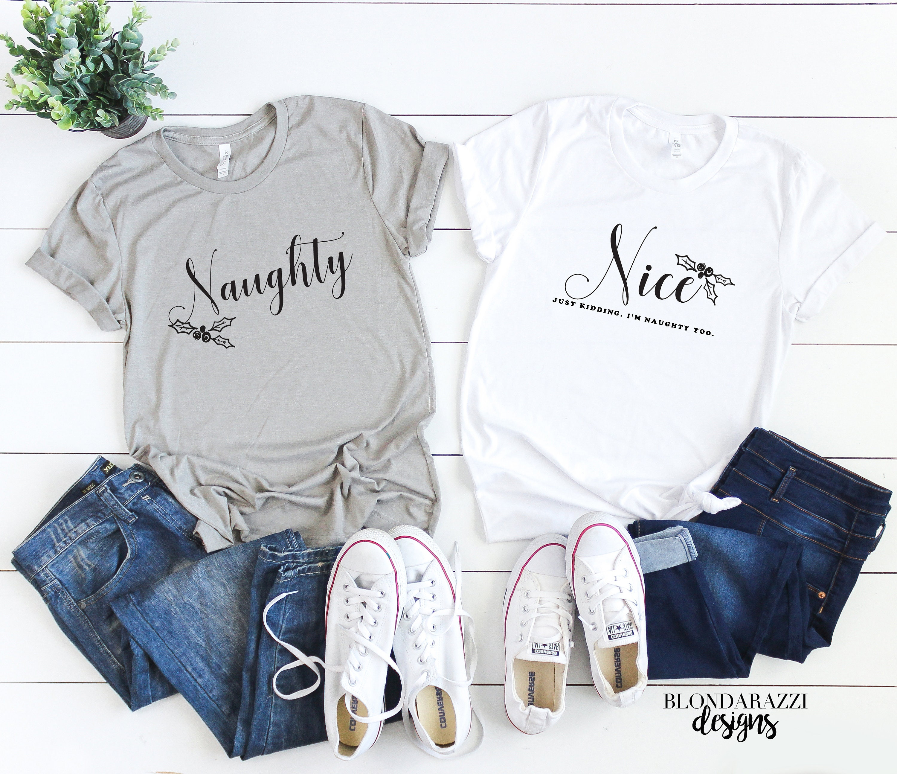 b2acd0cee Matching Funny Naughty and Nice Christmas Shirts for Mom and Dad Mr. and  Mrs. Best Friends Sisters Cousins or Family