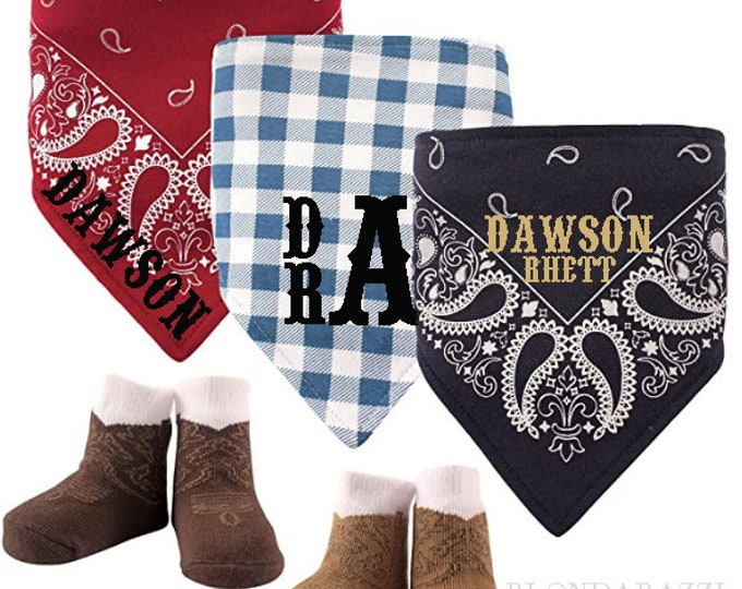 Cowboy Bandana Bibs set personalized with Baby Boy's Name and Monogram - includes matching set of socks