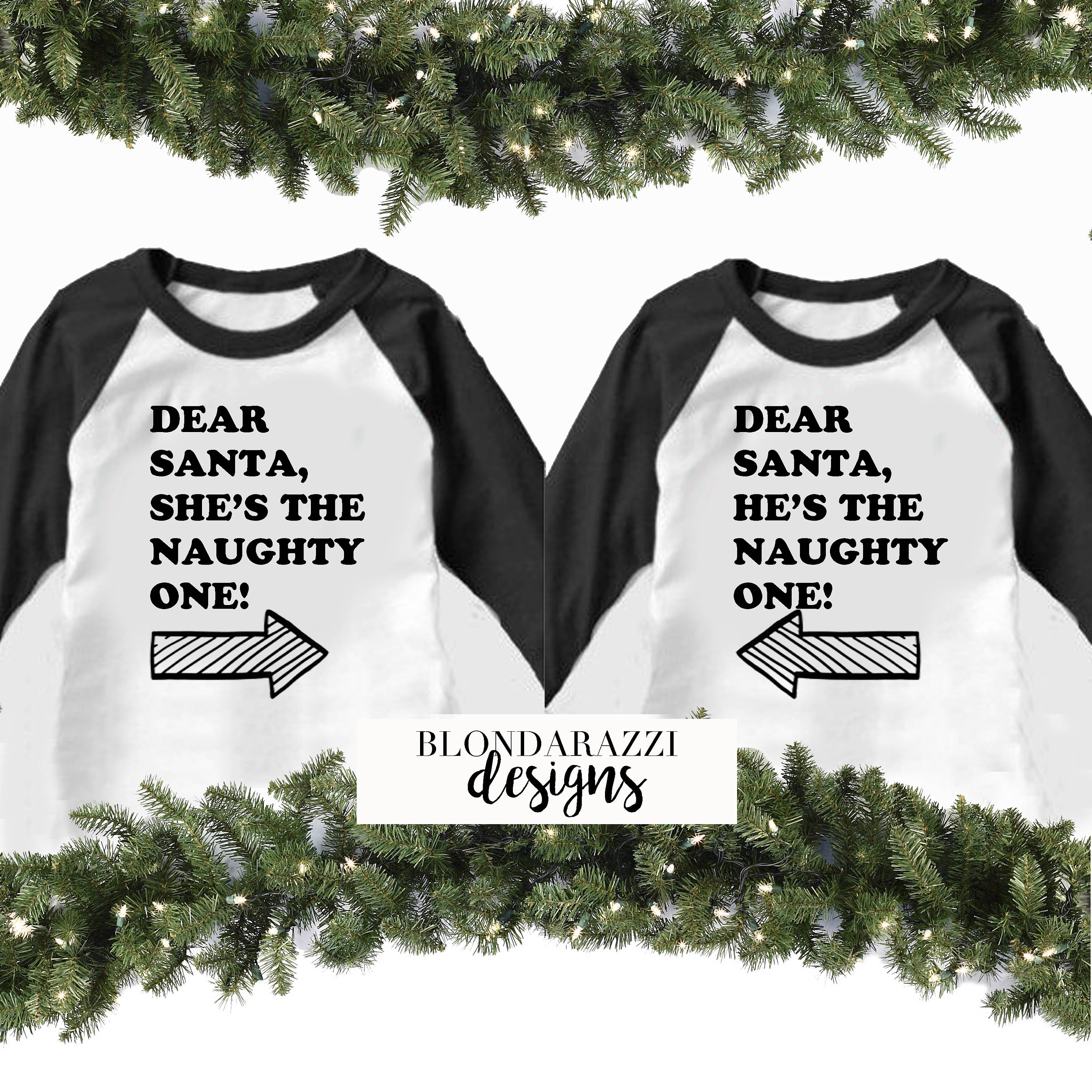 29cc0adc4 Funny Matching Christmas Shirts for Kids Sibling Brother and Sister Dear  Santa She's He's the Naughty One Baseball Tee Pajama tshirts