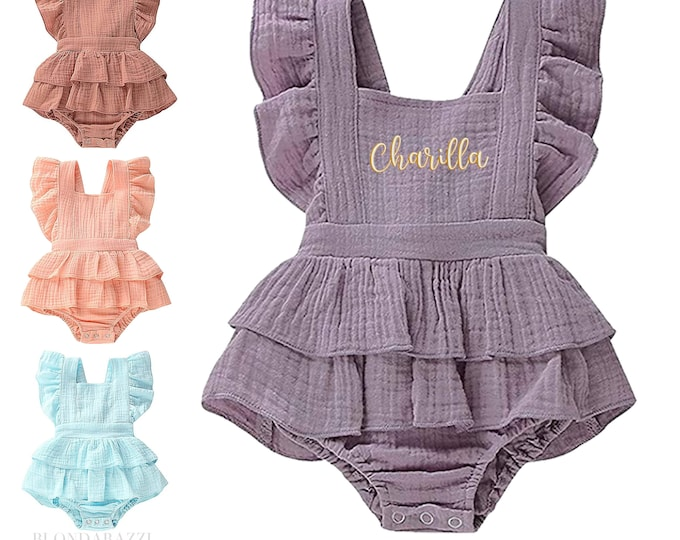 Personalized Baby Girl Ruffle Romper Outfit with embroidered name - infant sizes in boho pastels
