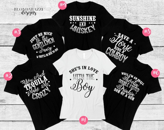 Country Music Bachelorette Party Crew Neck Shirts with song lyrics