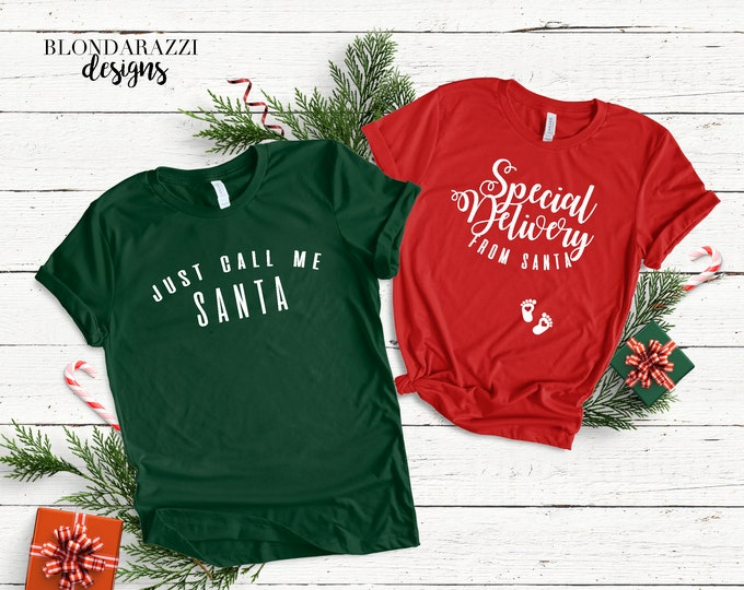 Christmas Pregnancy Announcement Shirts - Special Delivery From Santa matching mom and dad set
