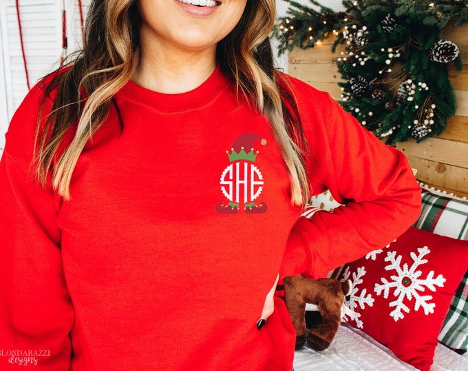 Monogrammed Christmas Sweatshirt with Elf design scalloped circle personalized embroidered monogram