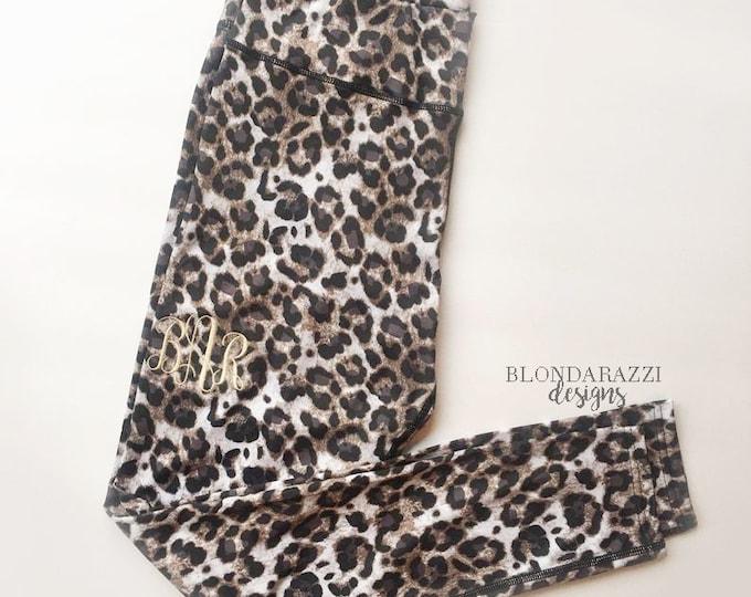 Leopard Print Leggings with Monogram