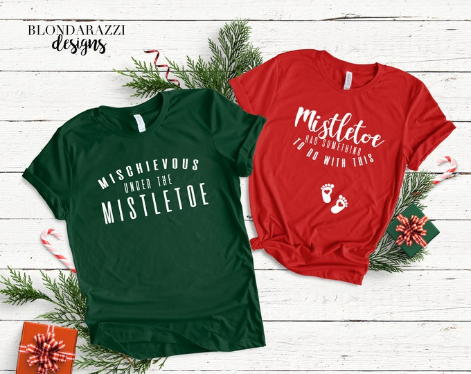 Christmas Pregnancy Announcement Shirts - Mistletoe theme for mom and dad