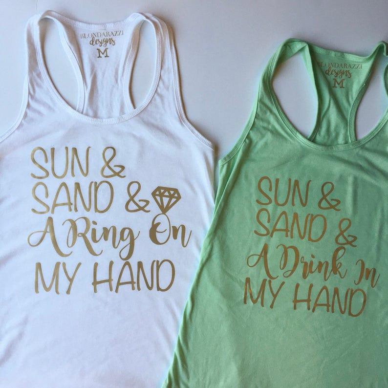 7f01fce99803c Beach Bachelorette Party Tank Tops Sun Sand Drink In My Hand
