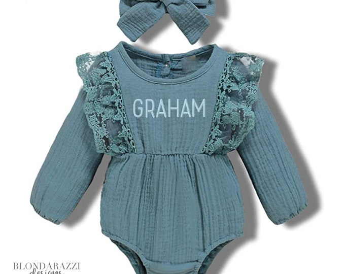 Ruffled Baby Girl outfit with long sleeve bubble romper matching bow headband and embroidered name