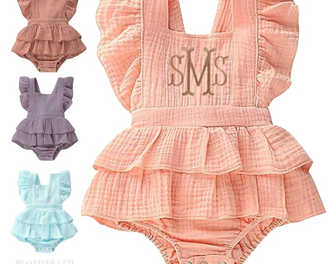 Baby Girls Ruffle Romper Outfit with personalized embroidered monogram