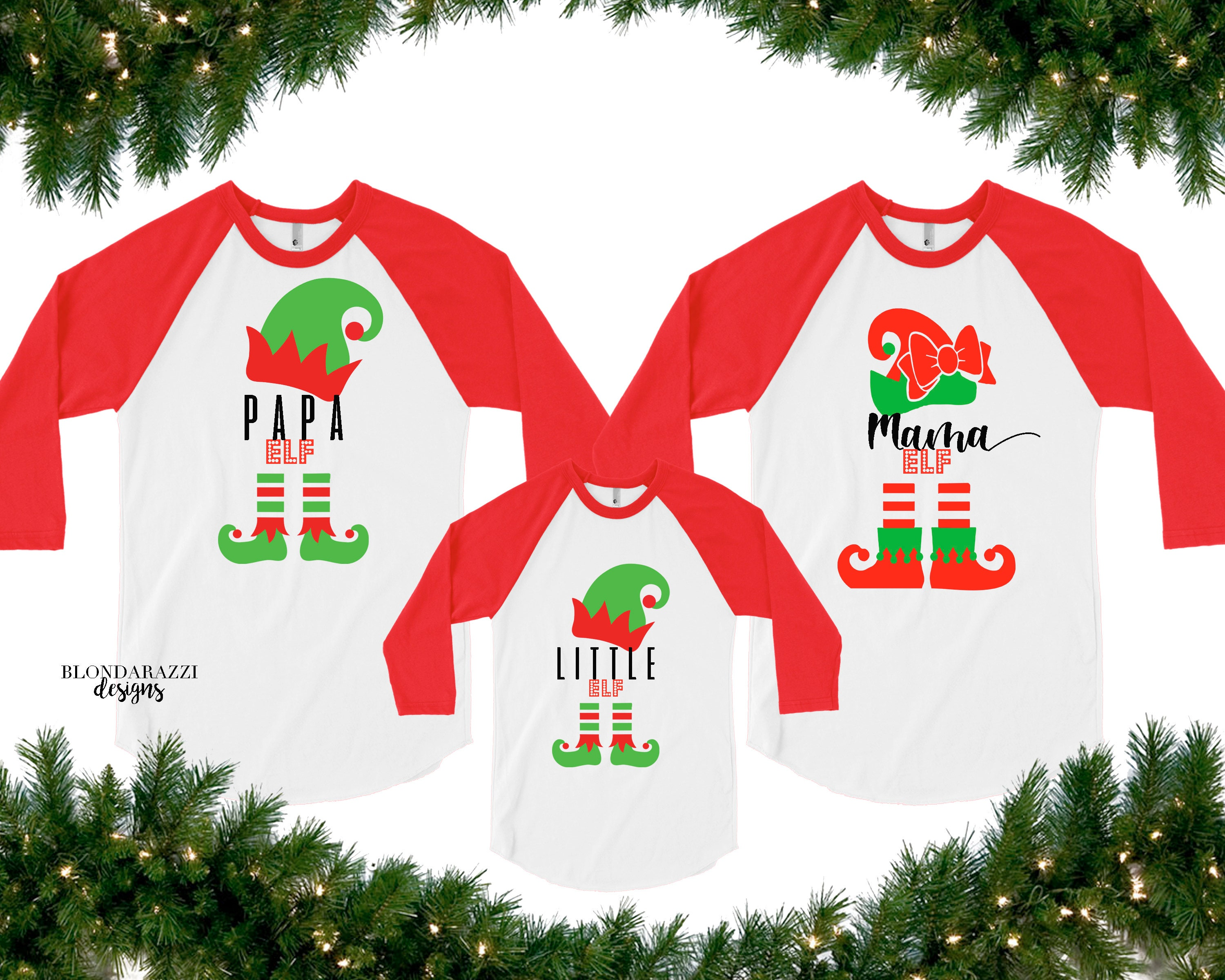 ea3ad3bc09d1 Matching Family Christmas Shirts with Elf and Personalized Names for Mom  Dad Kids Grandma Grandpa Aunt Uncle Cousin and all Relatives