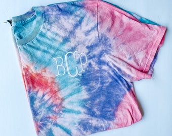 Tie dye tshirt with embroidered monogram